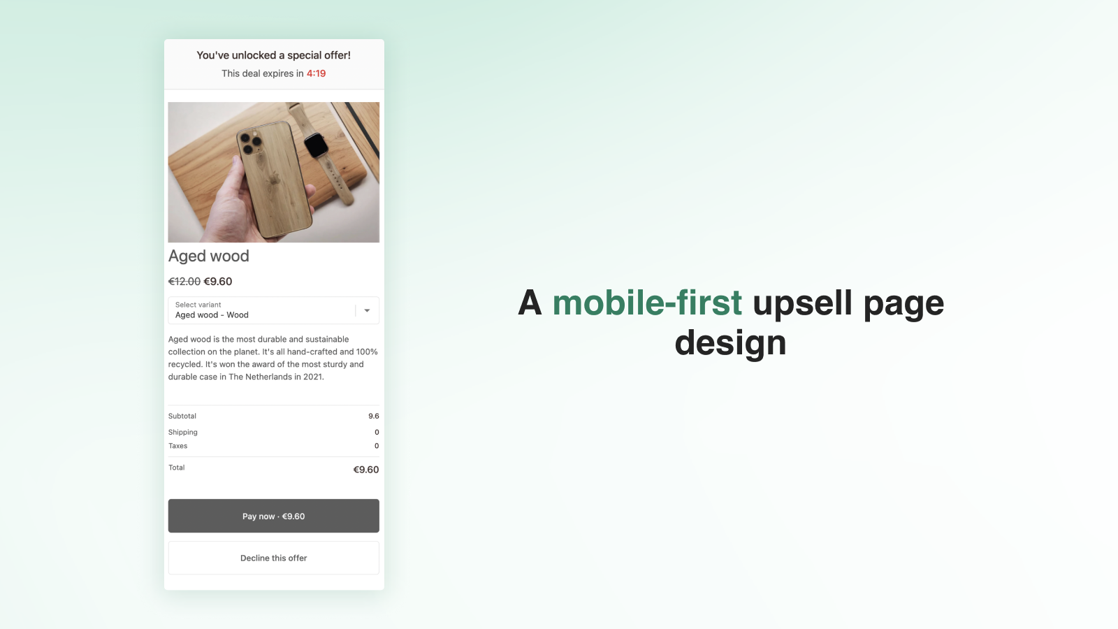 Mobile upsell page design