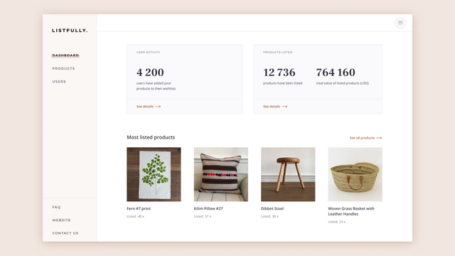 Basic analytics for e-shop owners on the Listfully dashboard