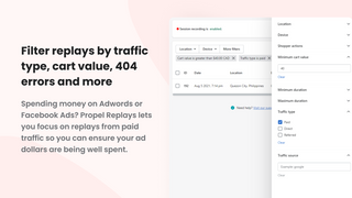 Filter replays by traffic type and cart value.
