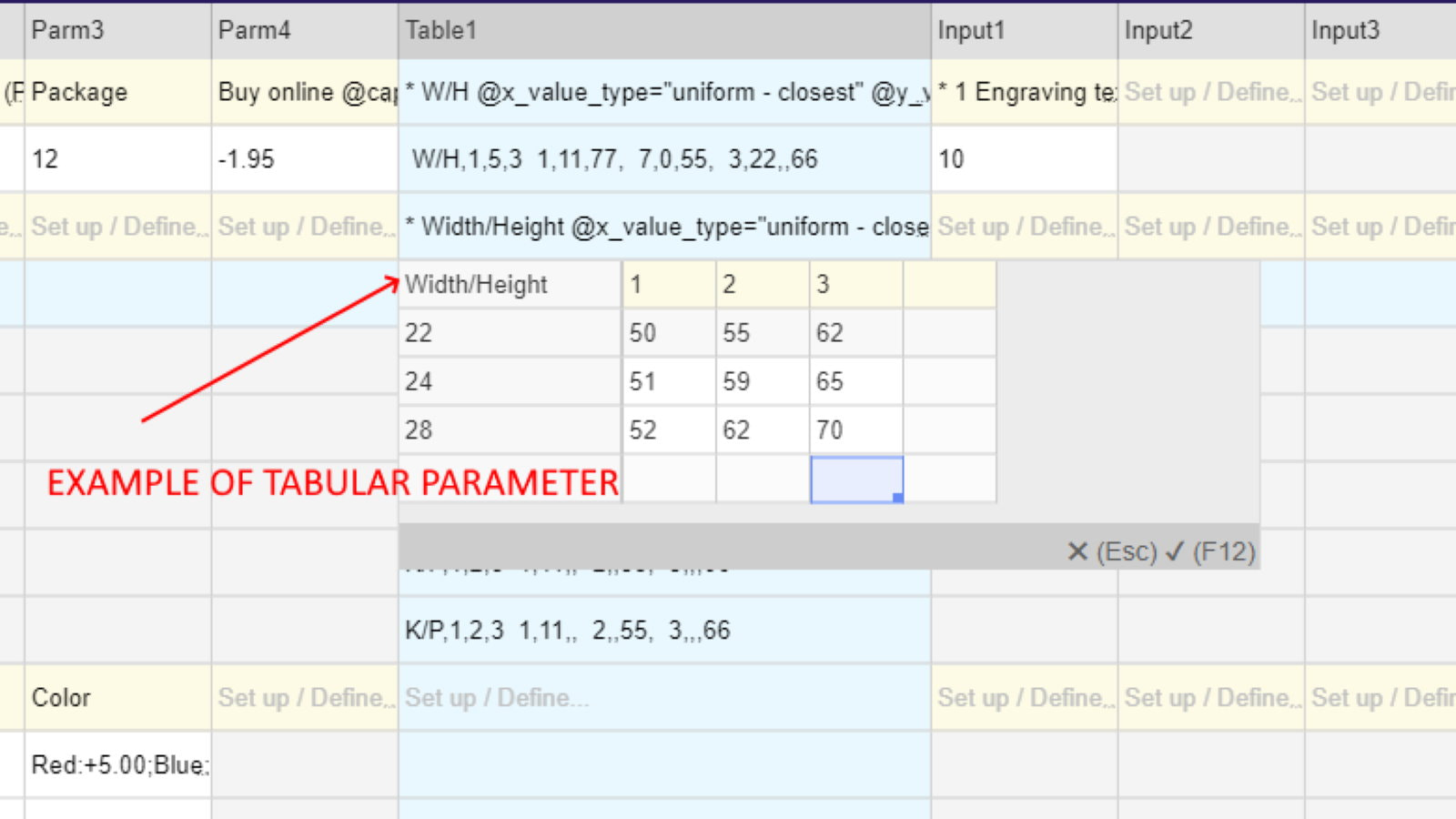 Parameter with price table source
