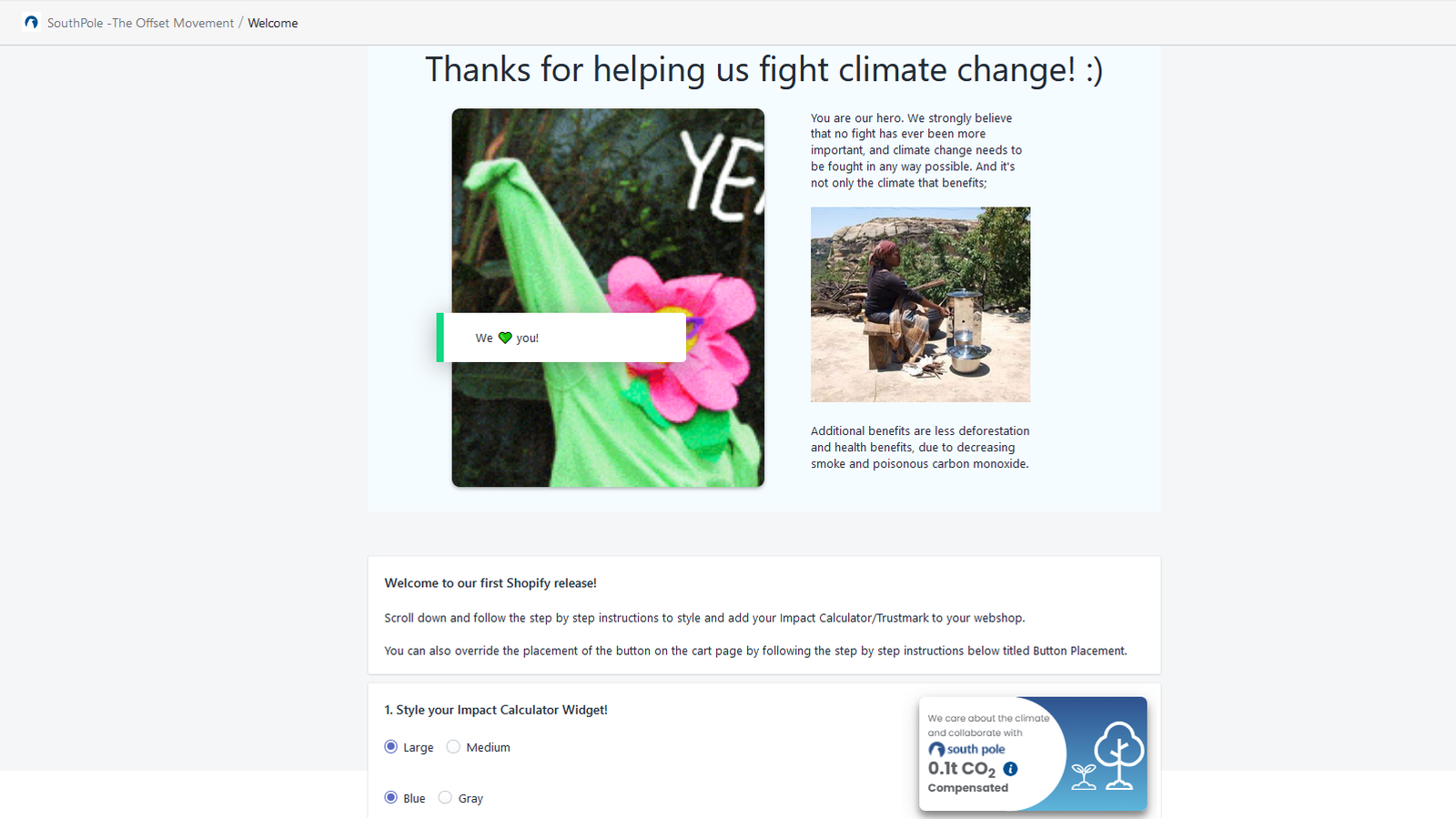 user interface thanking our clients to help fight climate change