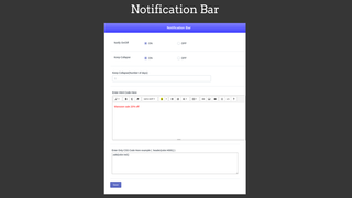 html notification bar backend