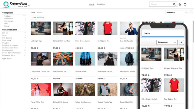Sniperfast instant site search for Shopify