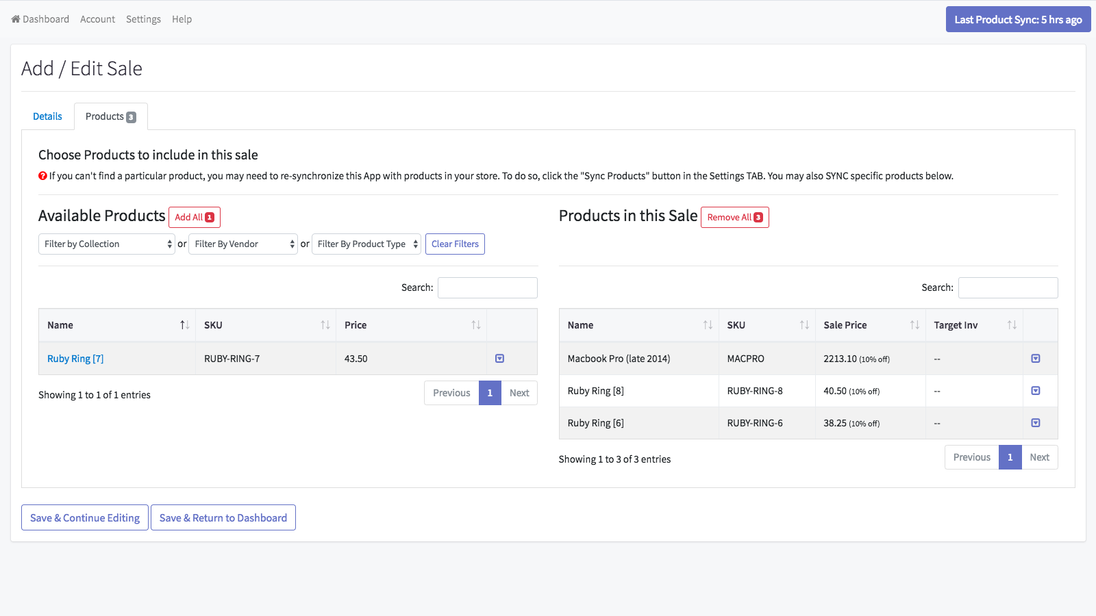 Add products by collection, tag or vendor or wildcard search