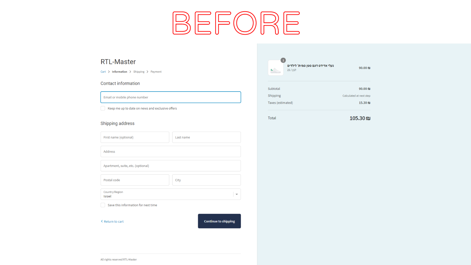Shopify RTL - Checkout Before RTL Master