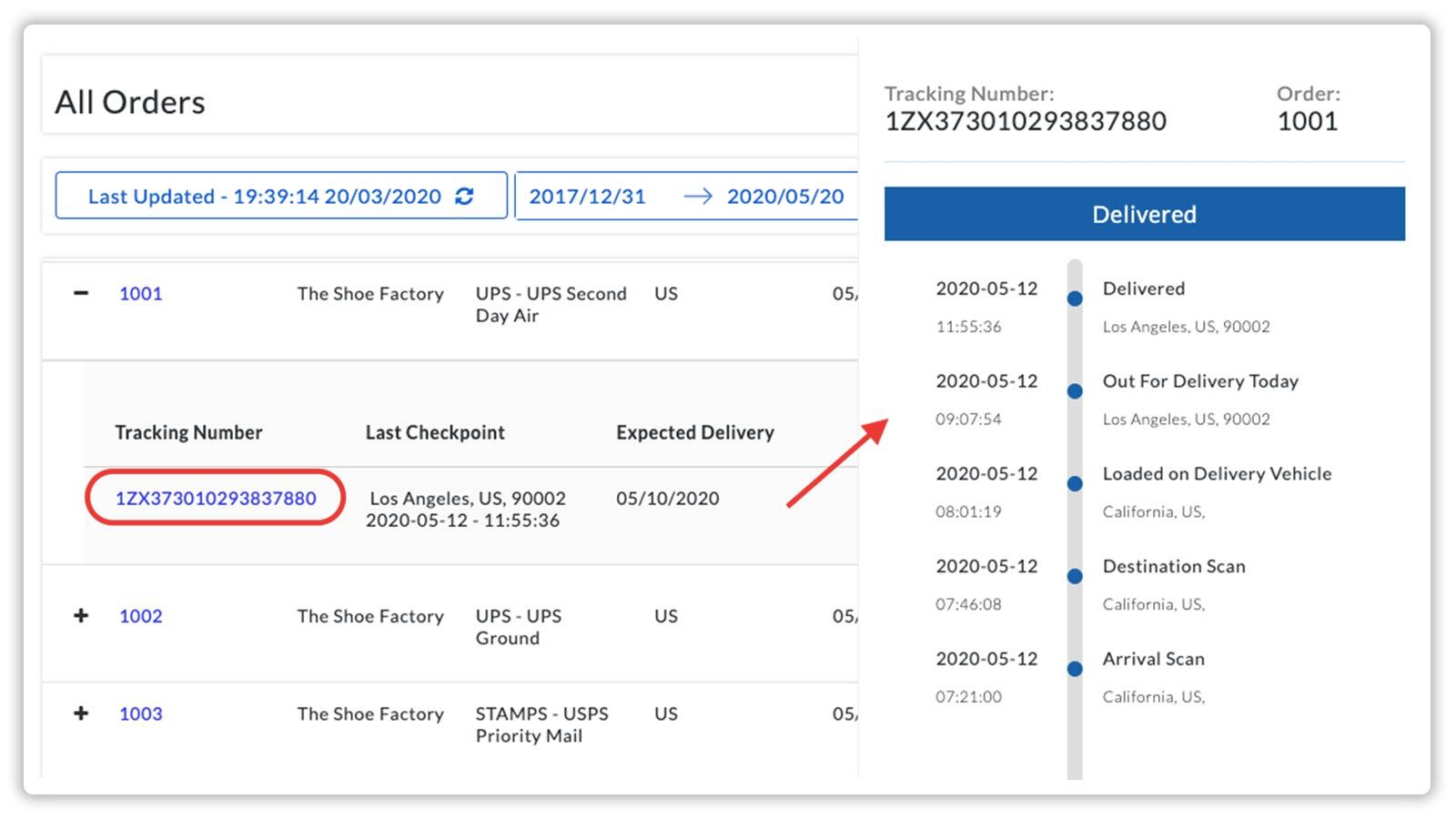 Monitor your shipments with the Live tracking dashboard