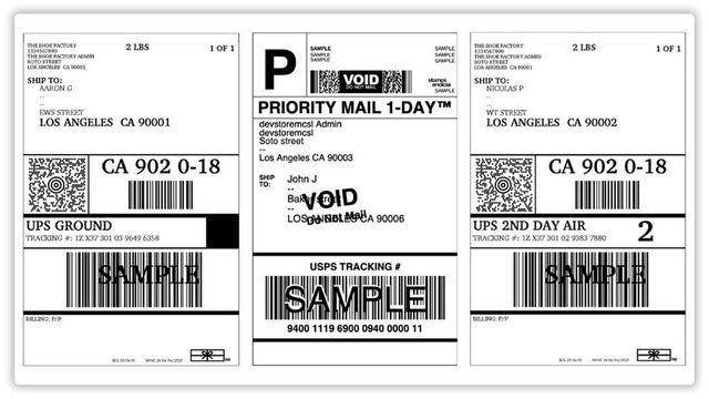 Shipping labels generated for multiple orders
