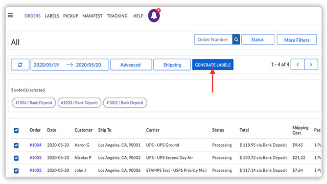 Generate shipping labels for all the orders in a single click