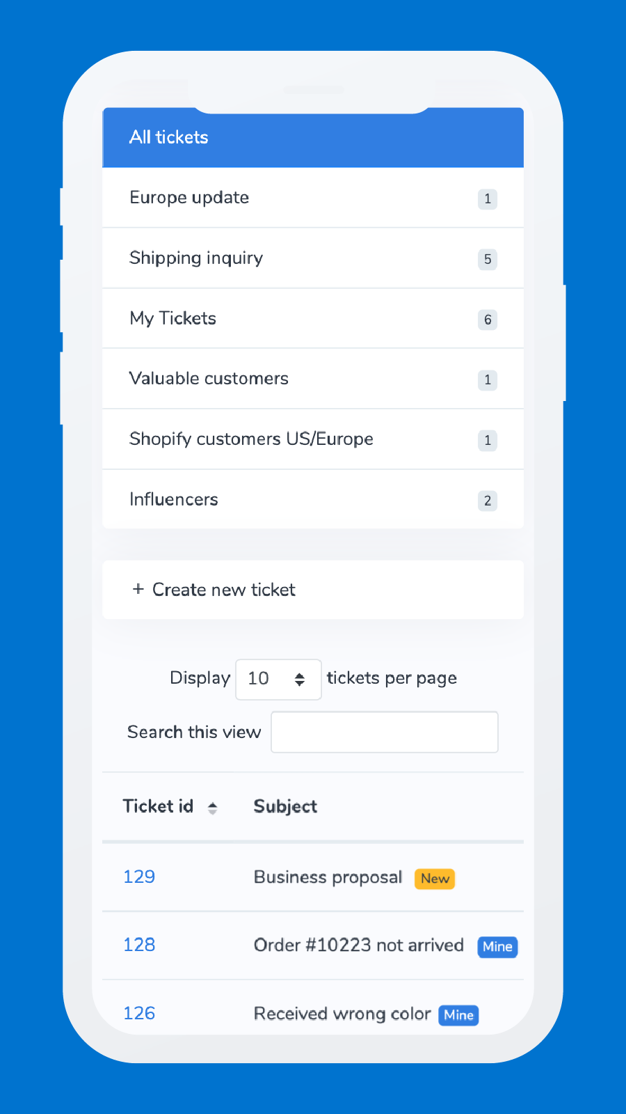 Mobile Ticket View