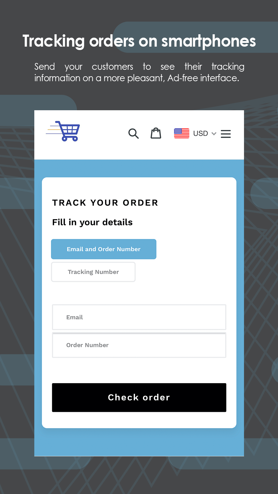 Tracking orders on smartphones
