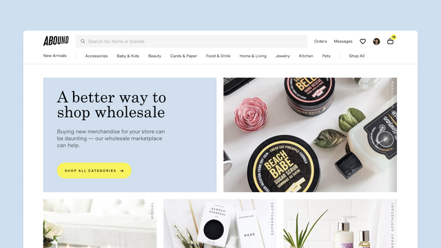 The Abound homepage - a better way to shop wholesale