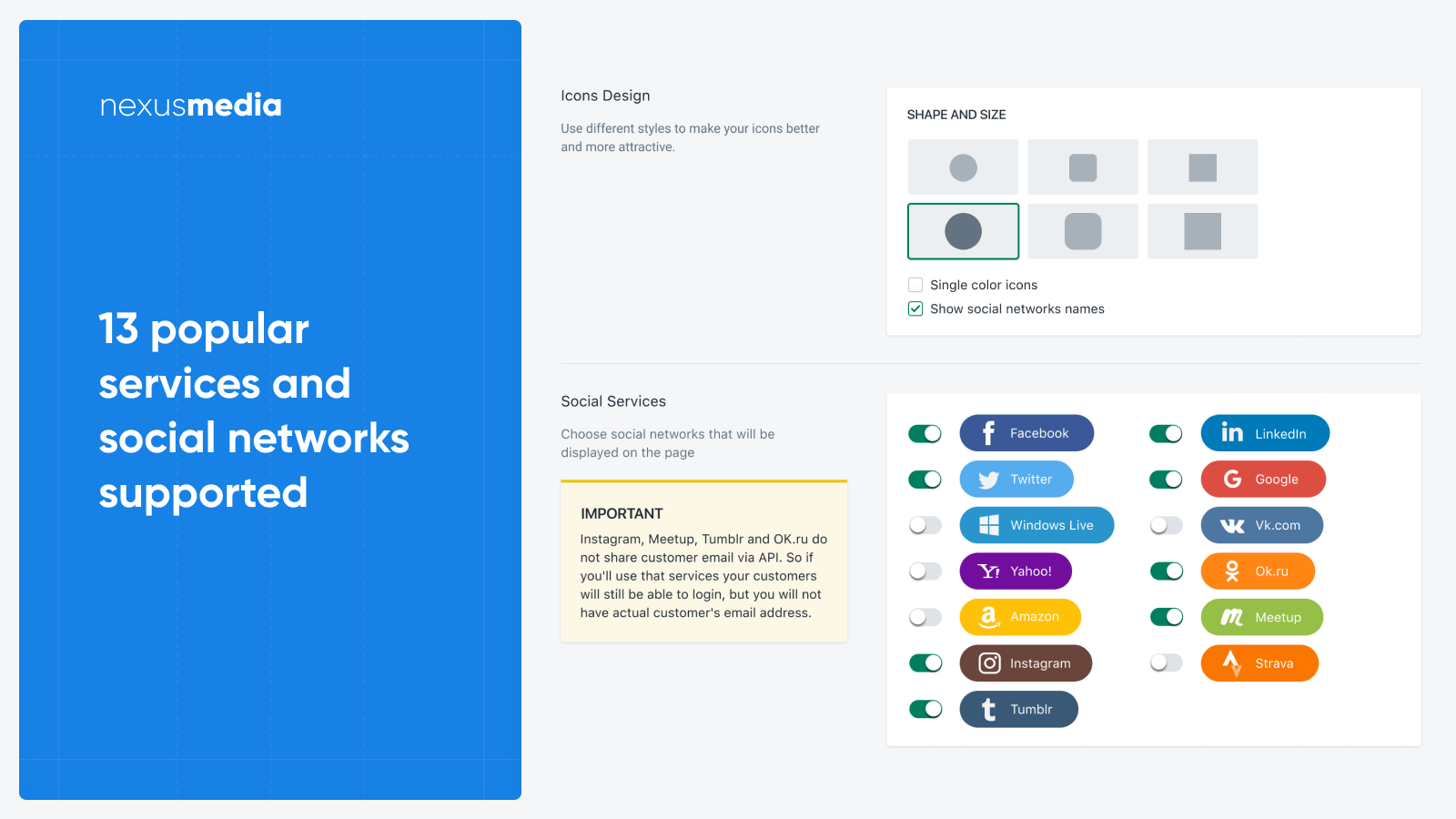 13 popular services and social networks supported