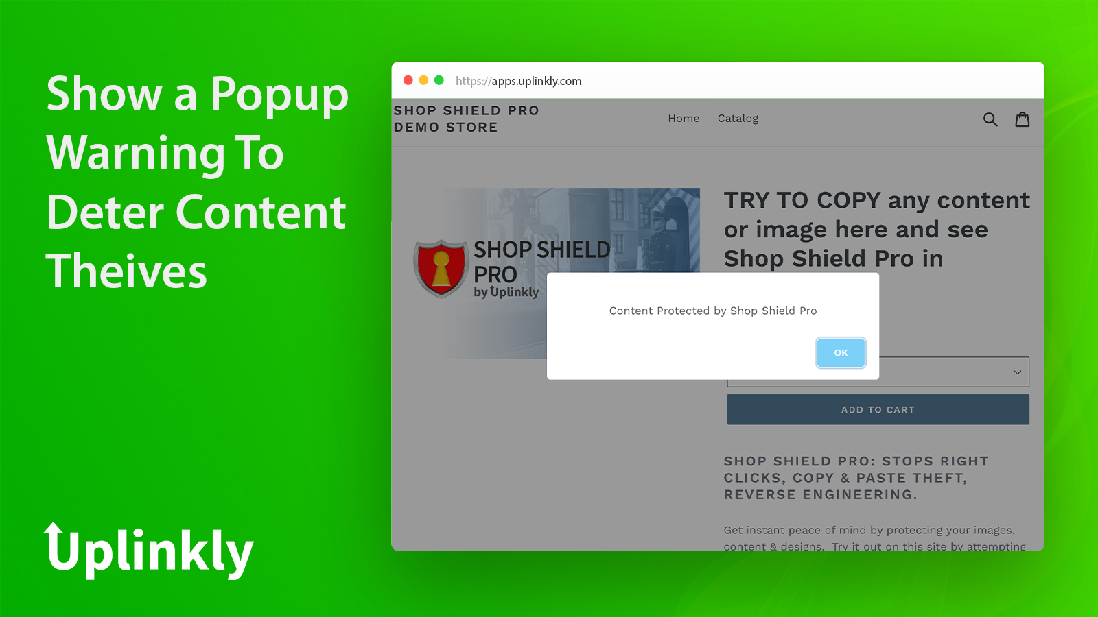Optional popup message on your store when an action is blocked