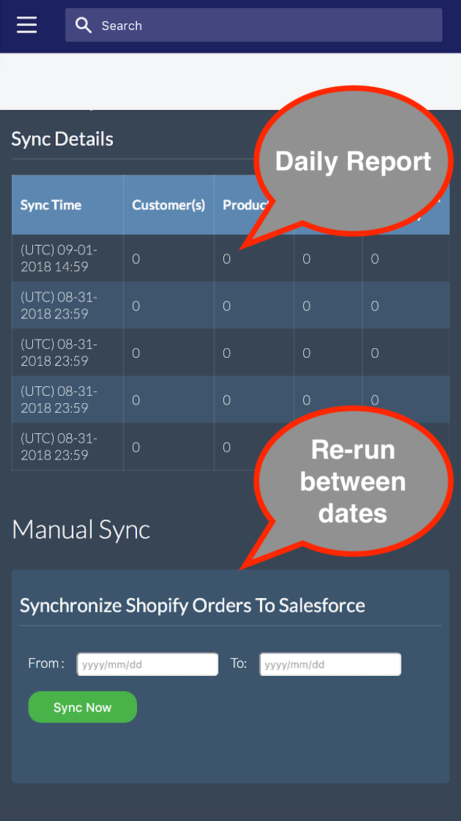 Daily Sync Report. Manual Historical Sync.