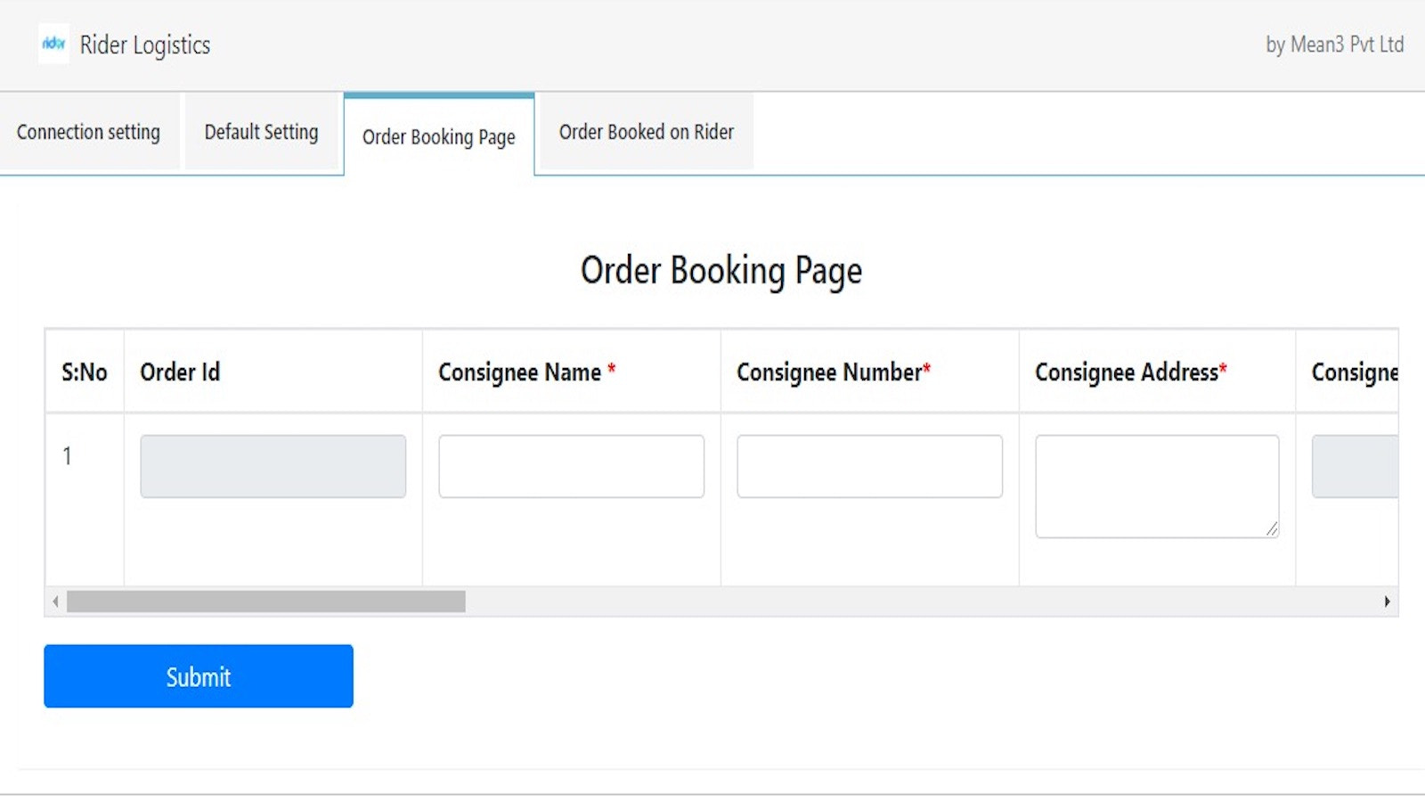 Order Booking Page