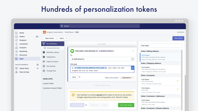 Hundreds of personalization tokens