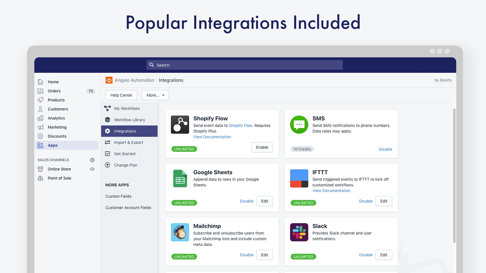 Popular integrations included free of charge