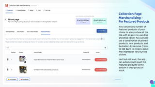 Featured Products Setting Page