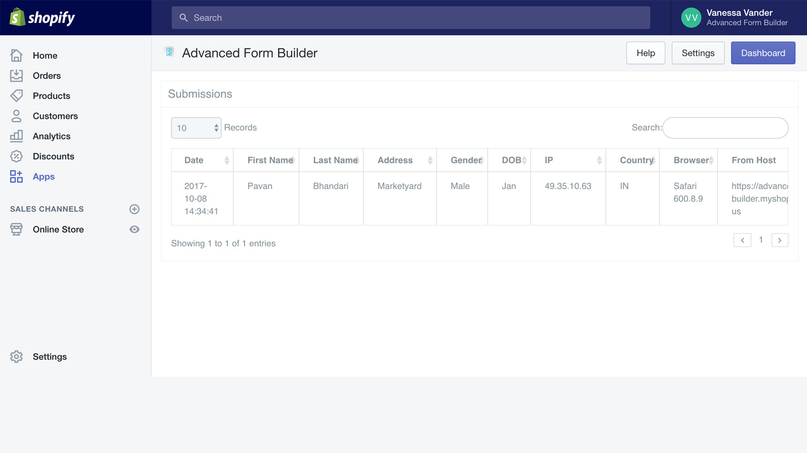 Form Data View