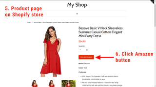 Product page on Shopify with Amazon button