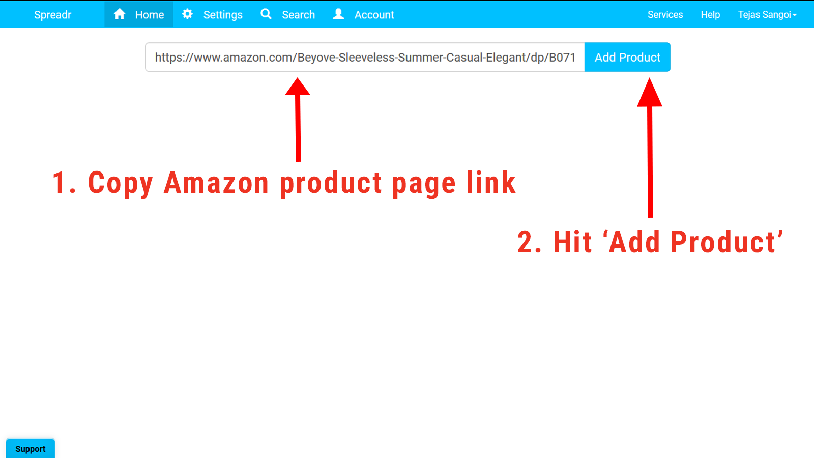 Copy Amazon product page link