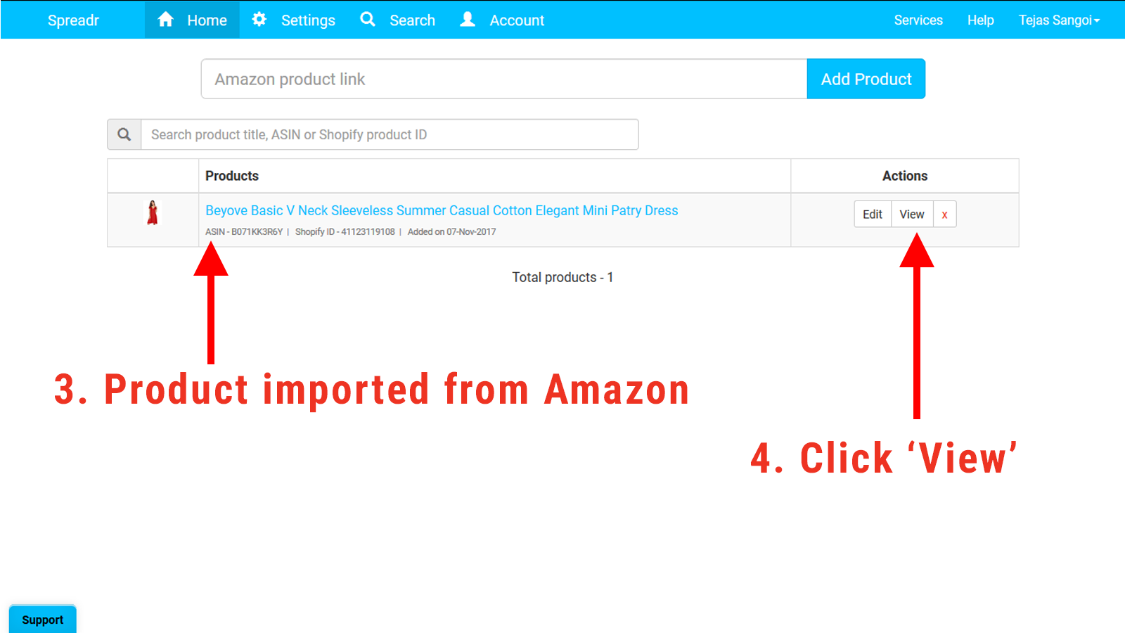 Product imported from Amazon to Shopify