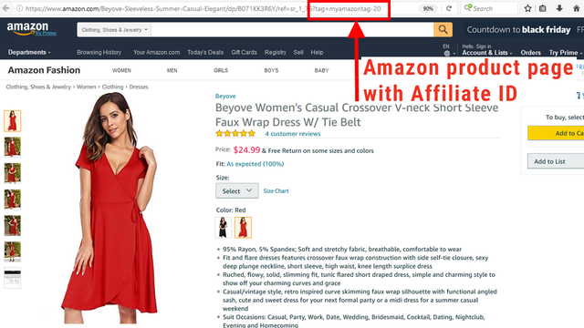 Amazon page with Affiliate ID