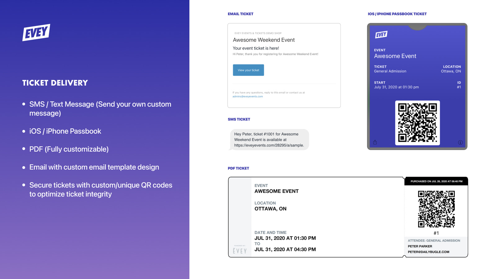 Ticket Delivery - SMS, PDF, iOS Wallet. Customize your tickets.