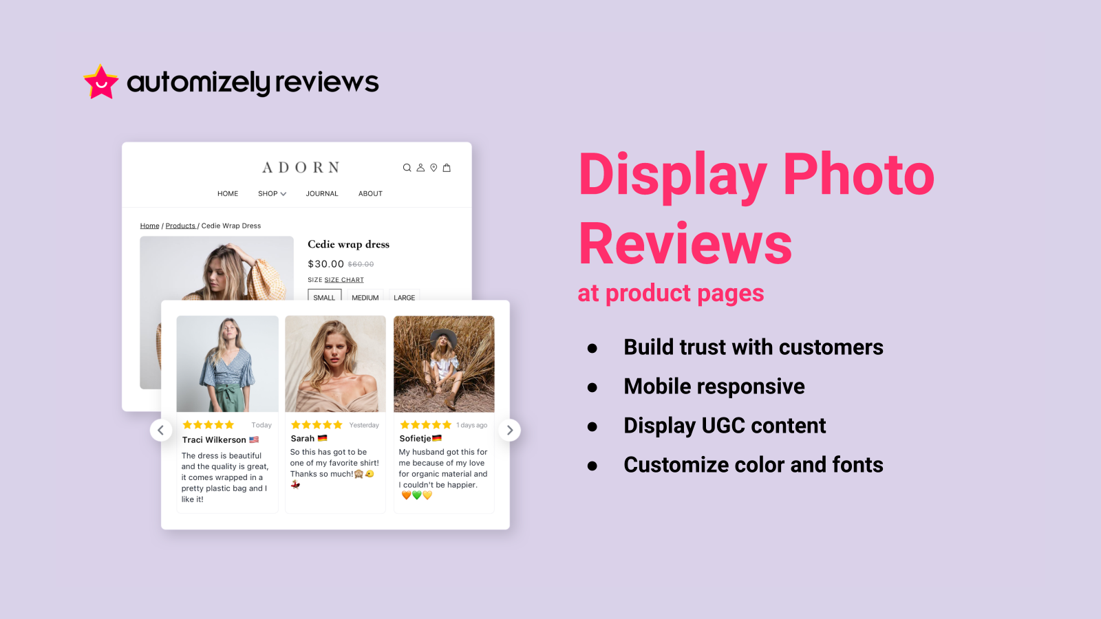 Display photo reviews at product pages