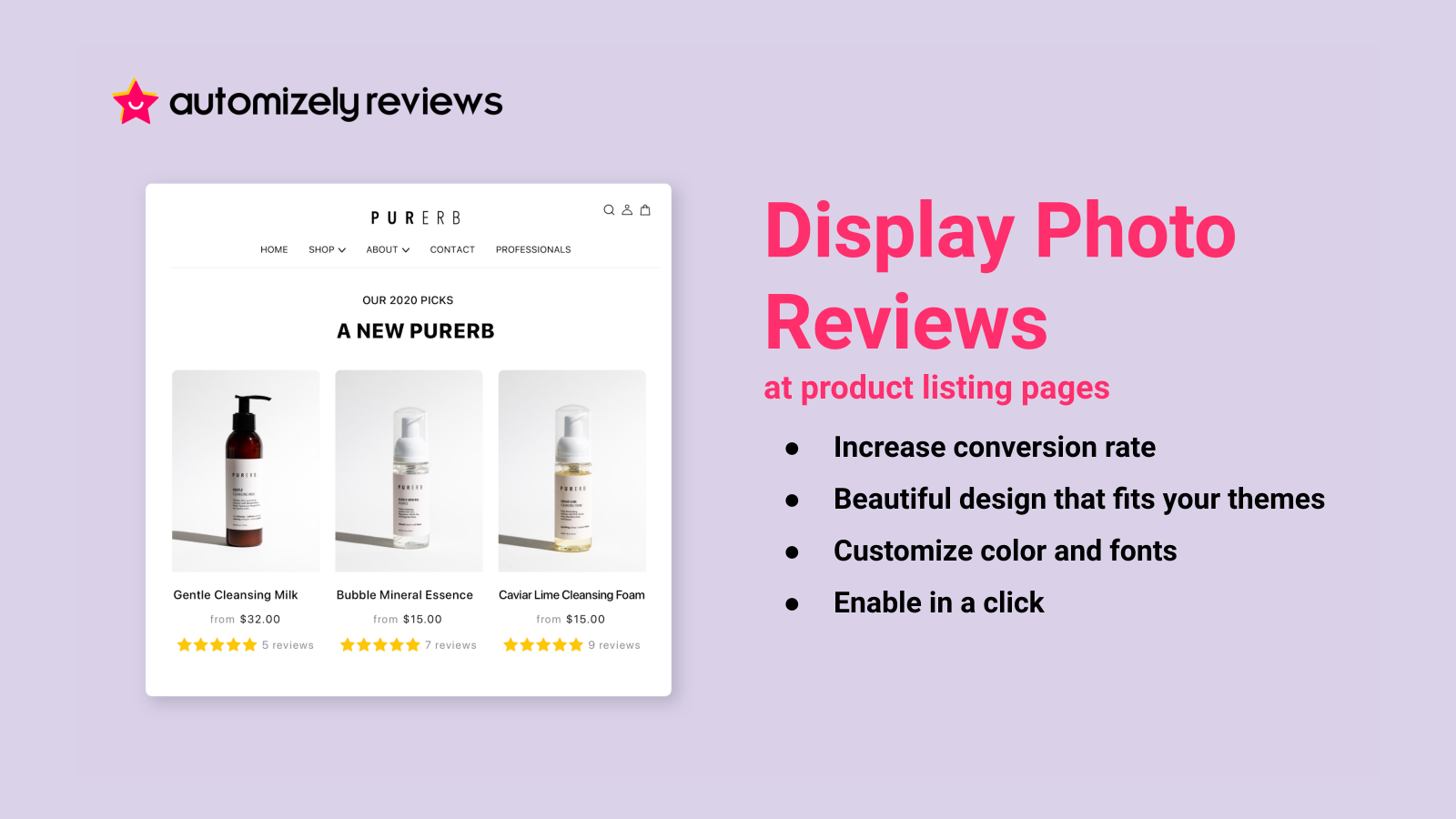 Display photo reviews at product listing pages