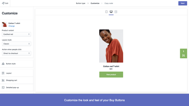 Customize the look and feel of your buy buttons