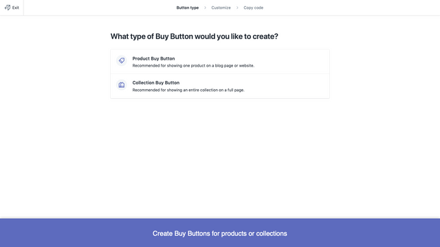 Create Buy Buttons for products or collections