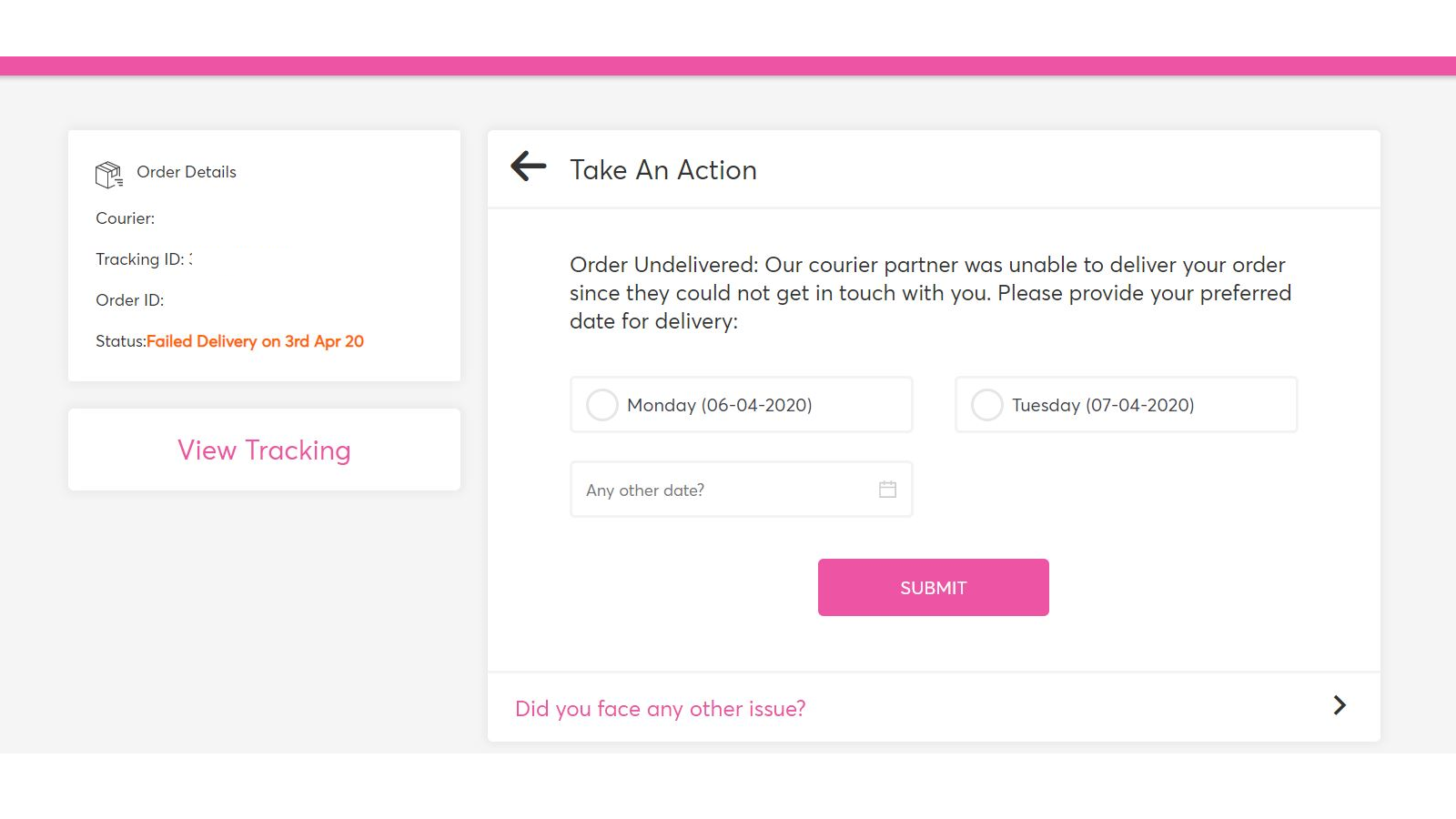 Manage failed deliveries by taking customer inputs
