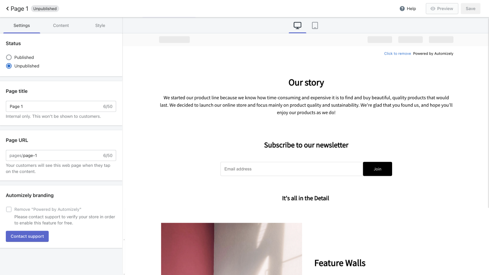 Create about us page to showcase your brand story