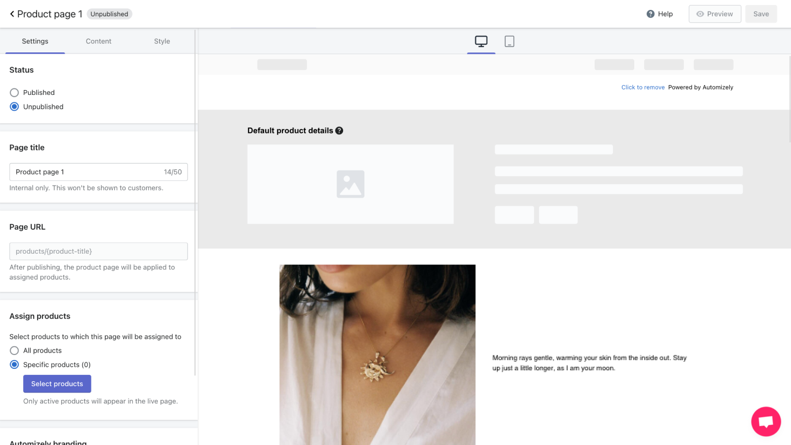 Create high-converting product pages in minutes