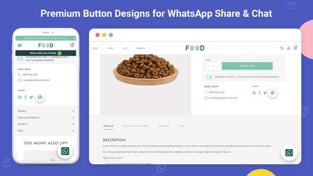 how whatsapp chat and share buttons looks on storefront & mobile