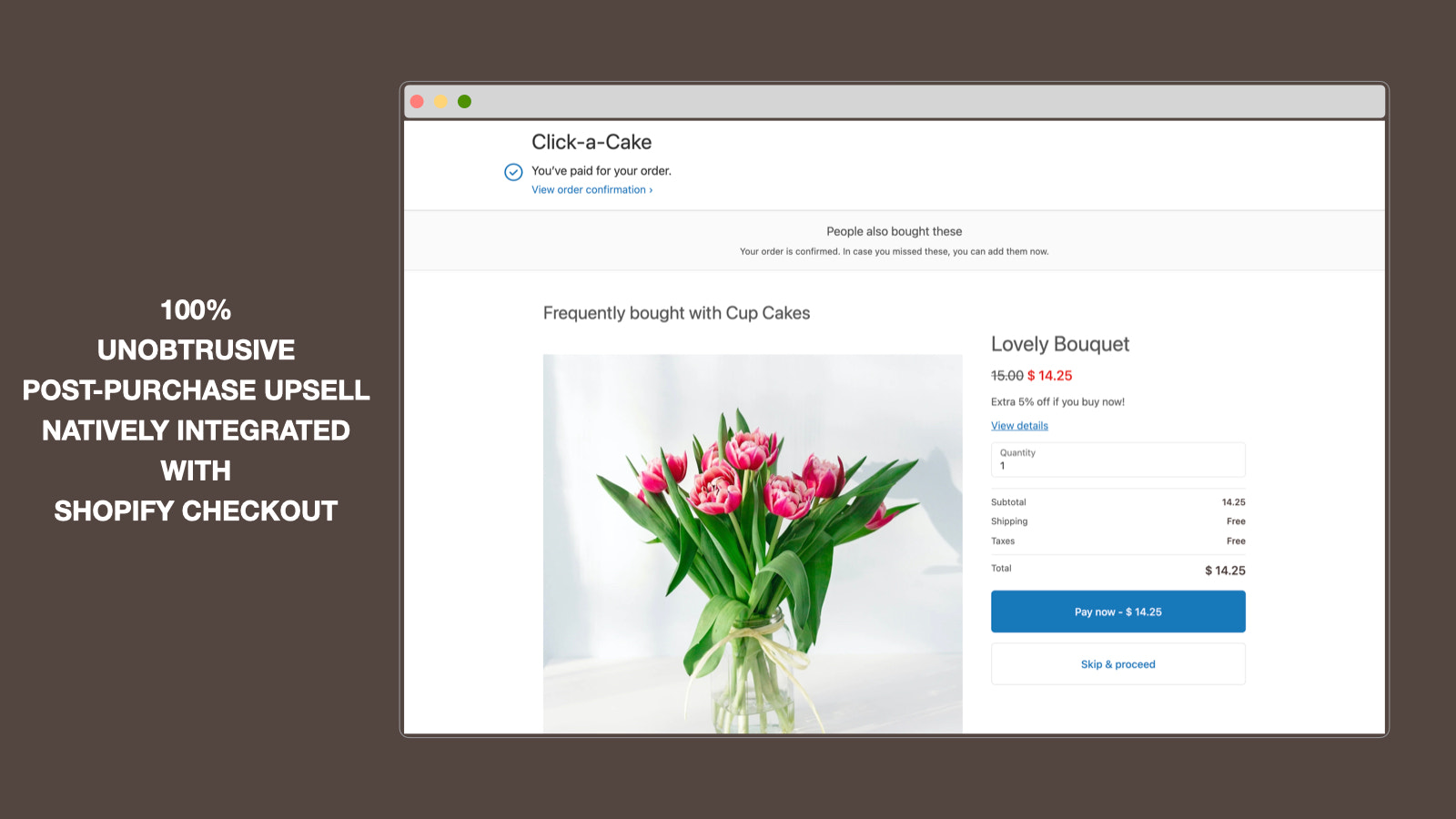 One click post-purchase upsell page