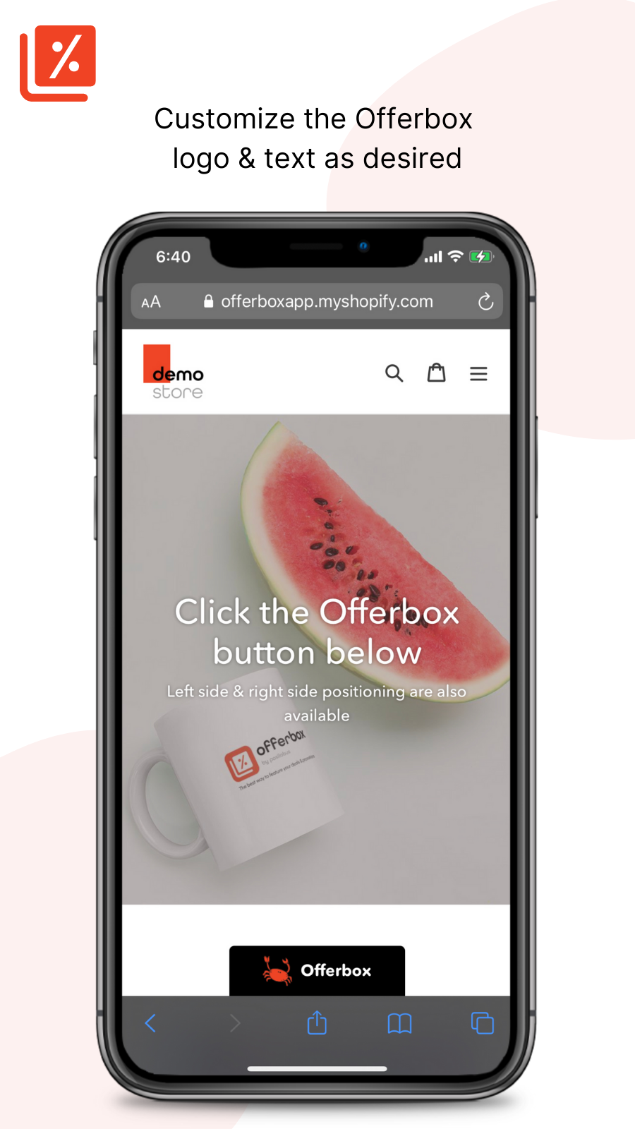 Customize the Offerbox logo & text as desired - Offerbox