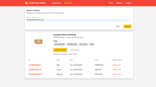 Live Gold Price Editor | Product Search