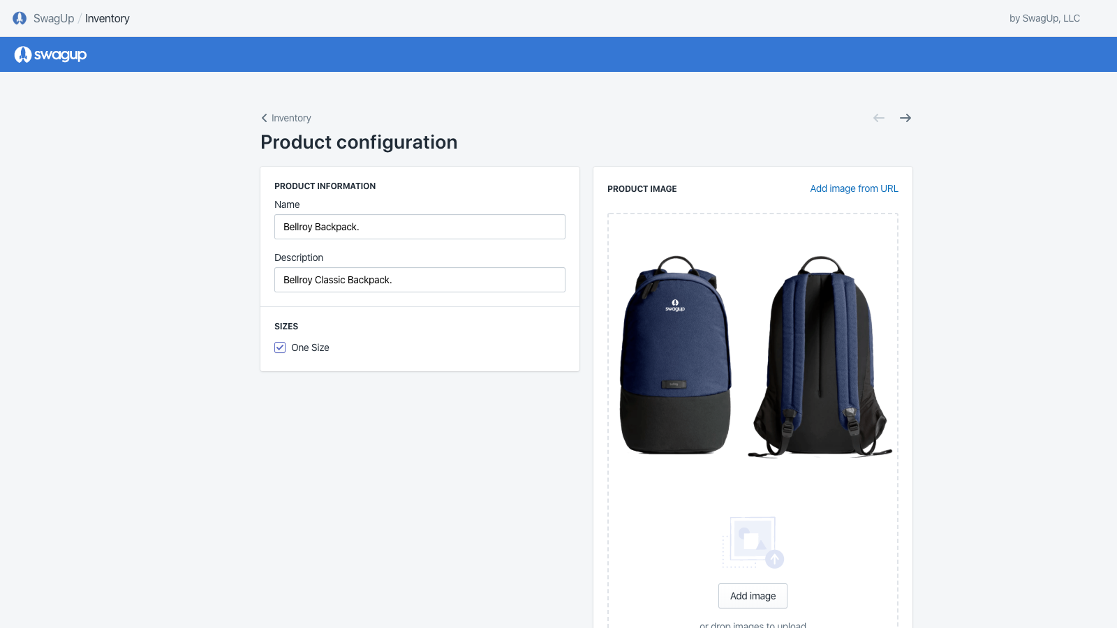 SwagUp - Shopify App Product Configuration Page