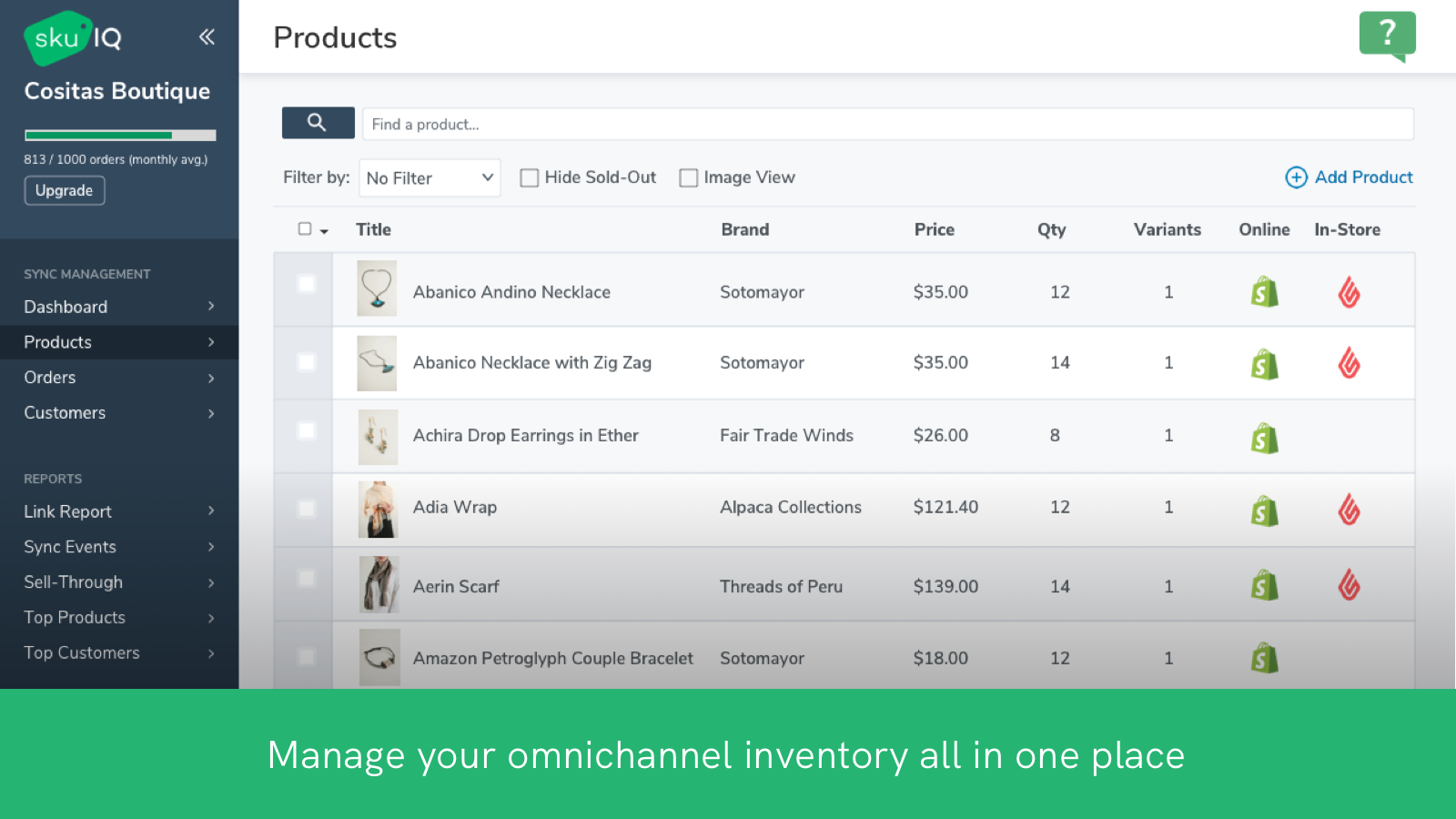 Screen view of SKU IQ Products page