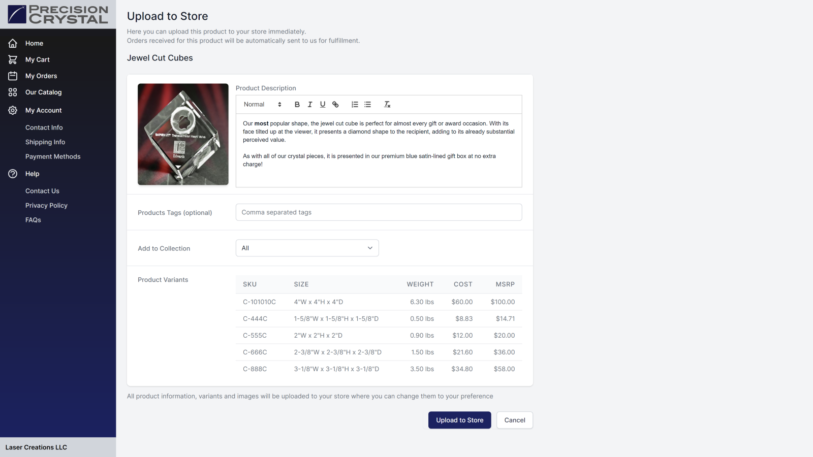 Upload to Store Page