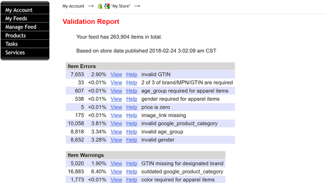 Validation Report - See errors and warnings