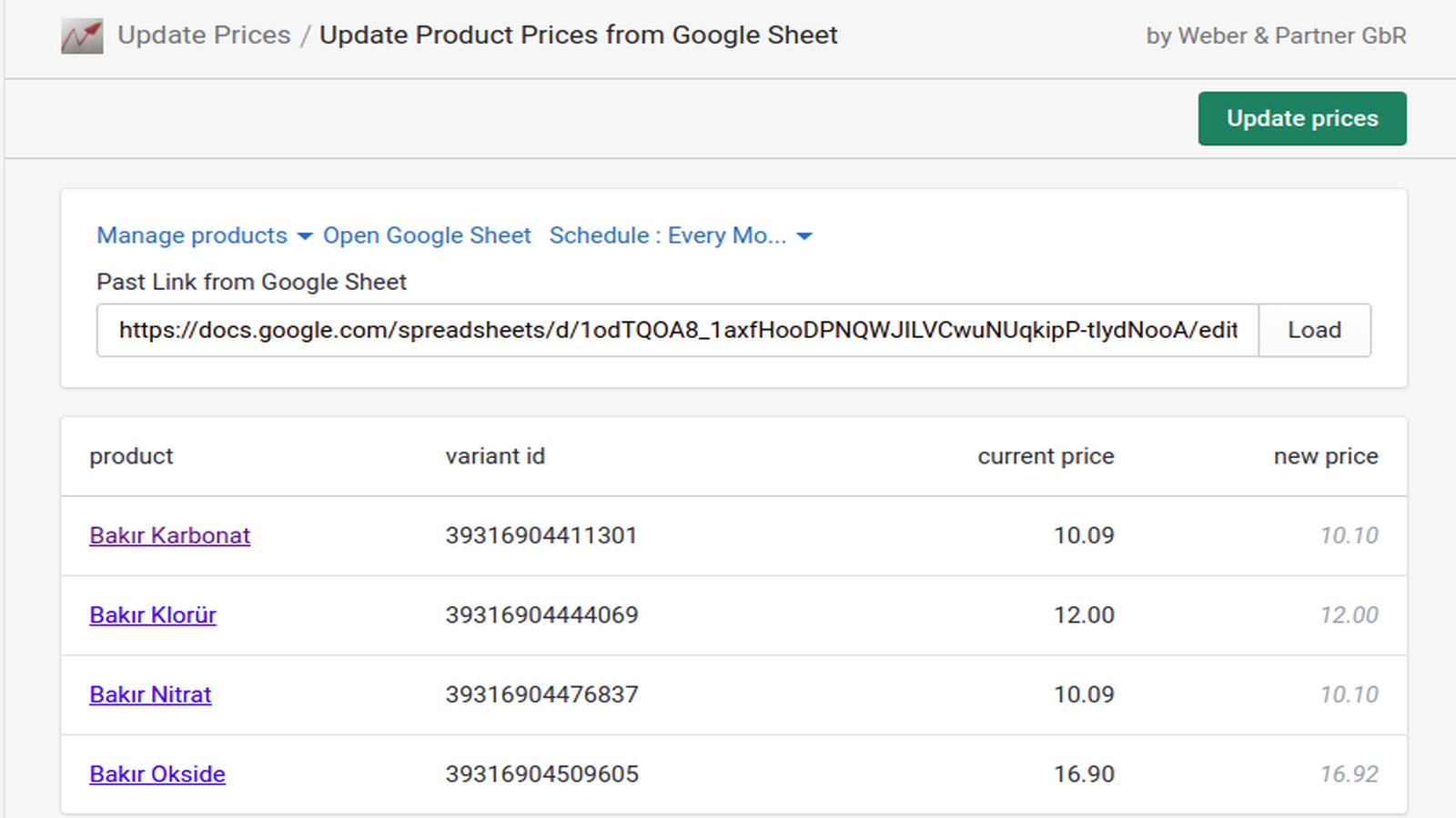 Update product prices by the click of a mouse