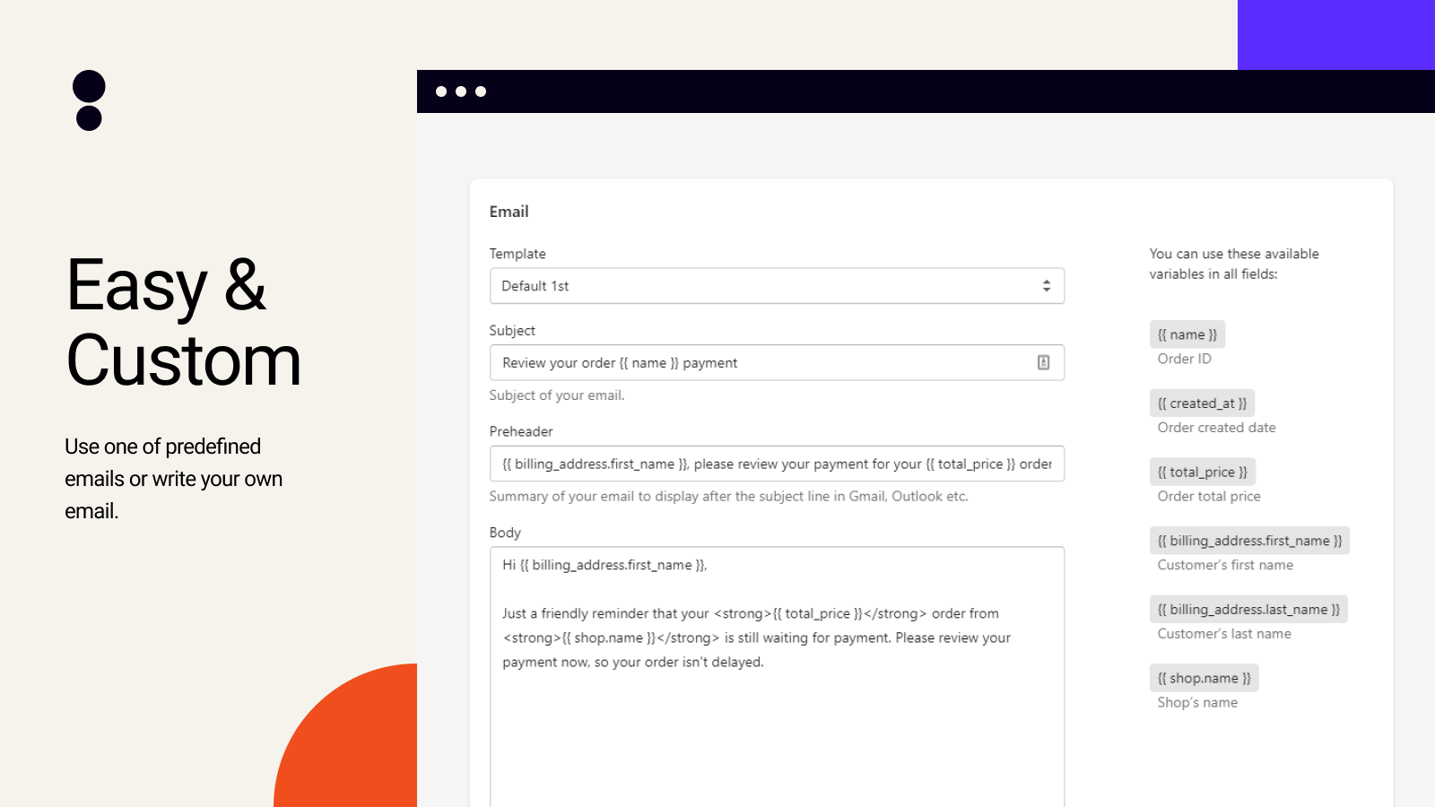 Email template editing