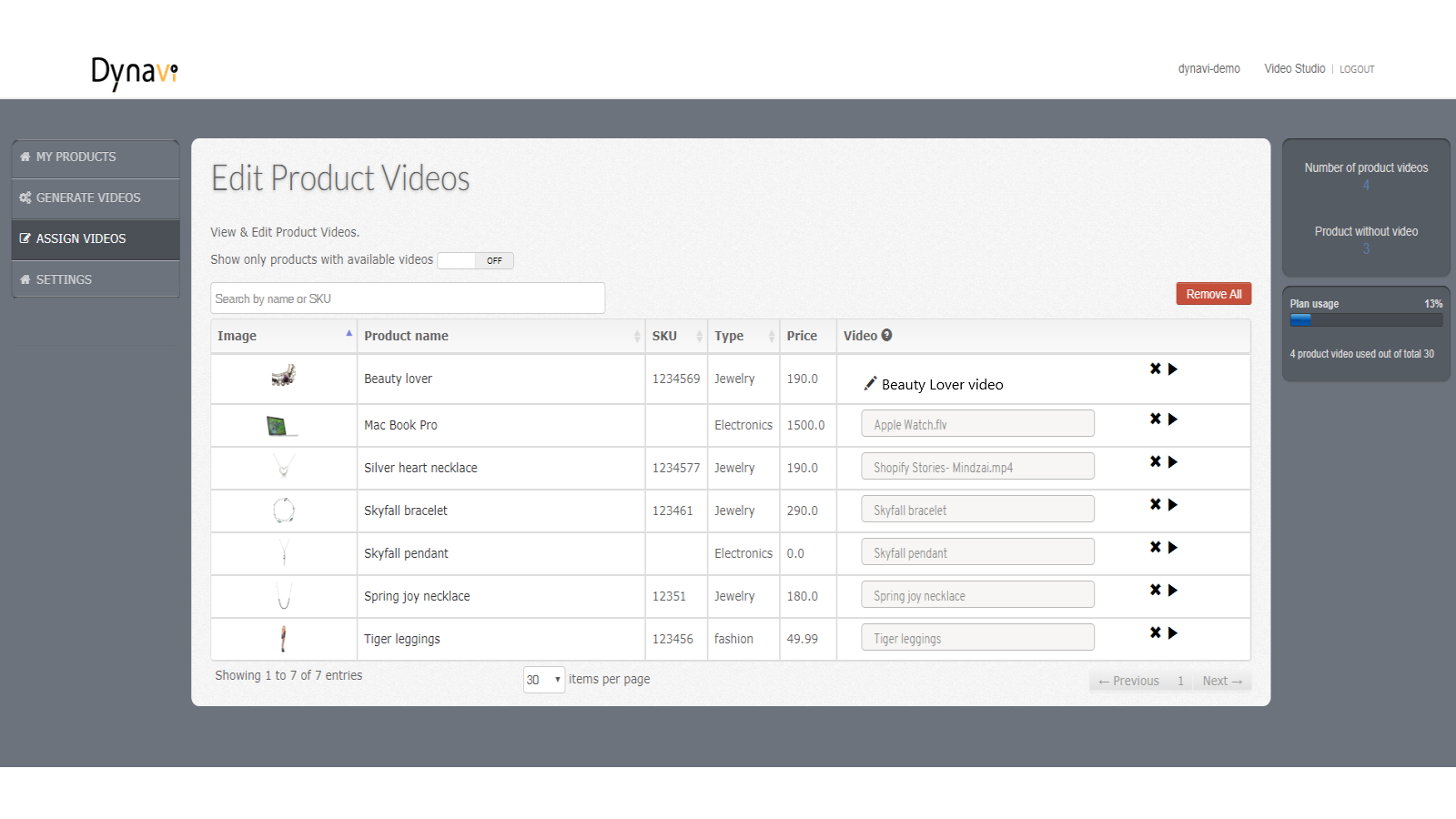 Assign videos to product