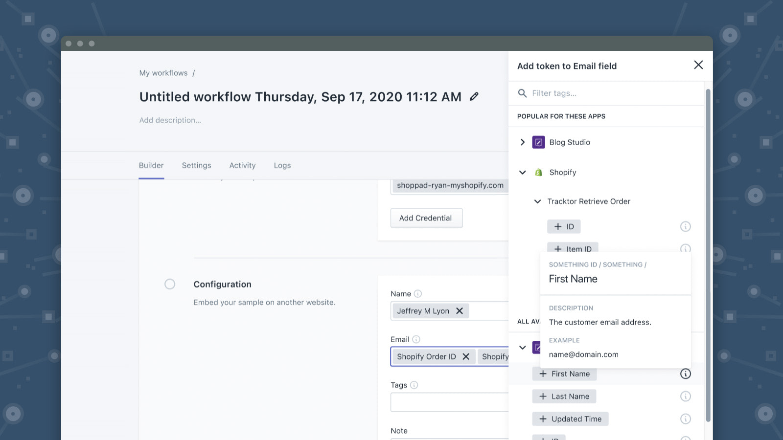 Customize automations with data from any steps of your workflow