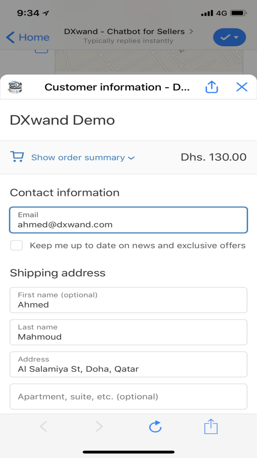 Chatbot redirect to Shopify Checkout with order details set