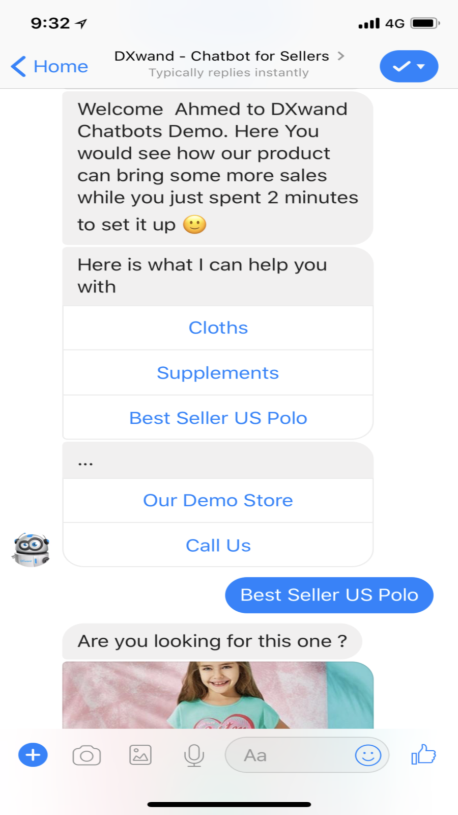 Chatbot custom welcome message and menu