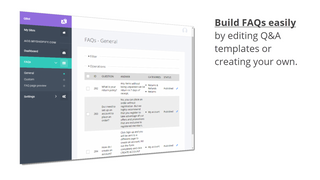 Build FAQs by editing Q&A templates or create your own